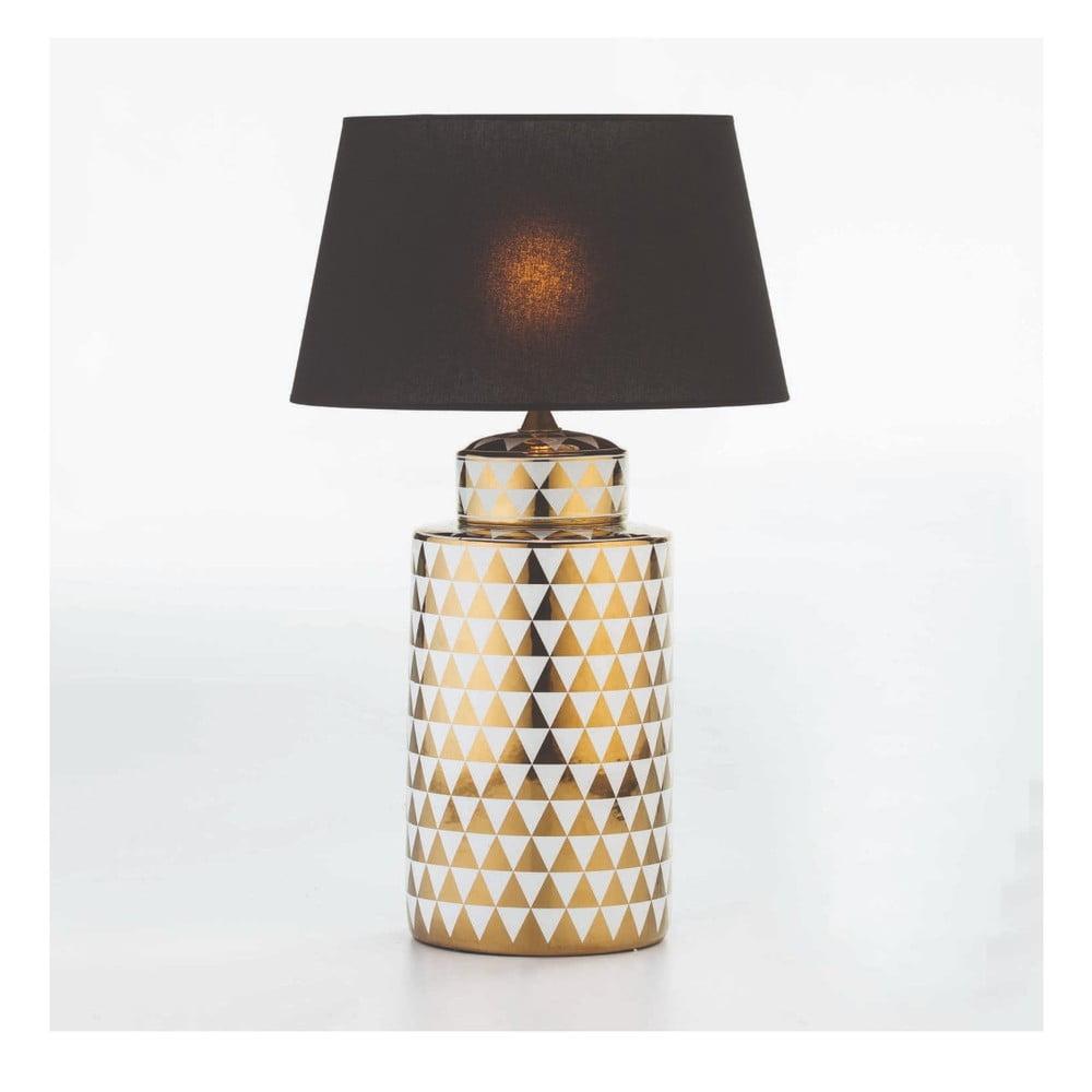 Keramická stolní lampa se vzorem v bílo-zlaté barvě bez stínidla Thai Natura, výška 51cm