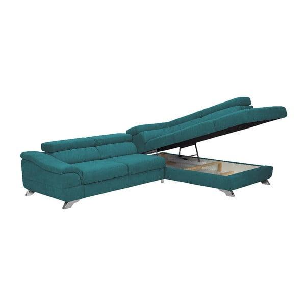 Tyrkysová rozkládací rohová pohovka Windsor & Co Sofas Gamma, pravý roh