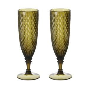Set zelených sklenic na šampaňské, 2 ks