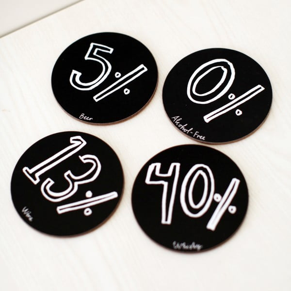 Set 4 podtácků Karin Åkesson Design Alcohol Percent