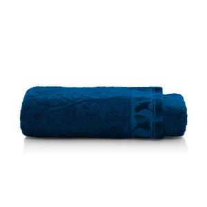 Tmavě modrý ručník z bambusových vláken Maison Carezza Italia, 50 x 100 cm