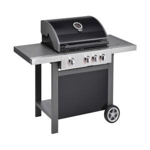 Černý plynový gril se 3 samostatně ovladatelnými hořáky, teploměrem a bočním ohřívačem Jamie Oliver BBQ