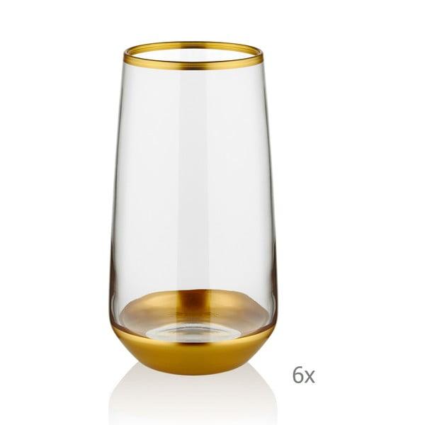 Sada 6 skleniček Mia Glam Glod, 380 ml