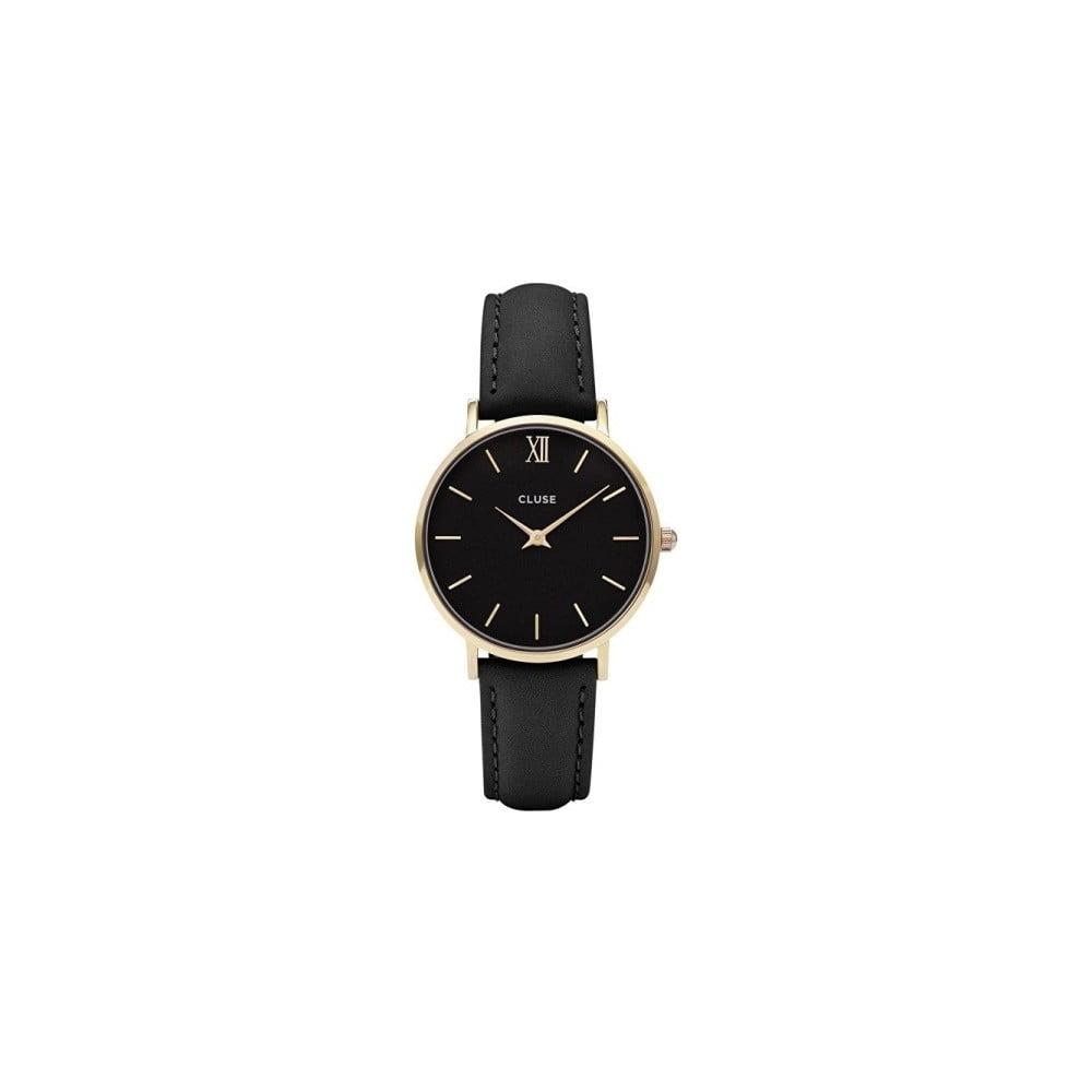 8e4c76ab99 Dámské černé hodinky s koženým řemínkem a detaily ve zlaté barvě Cluse  Minuit