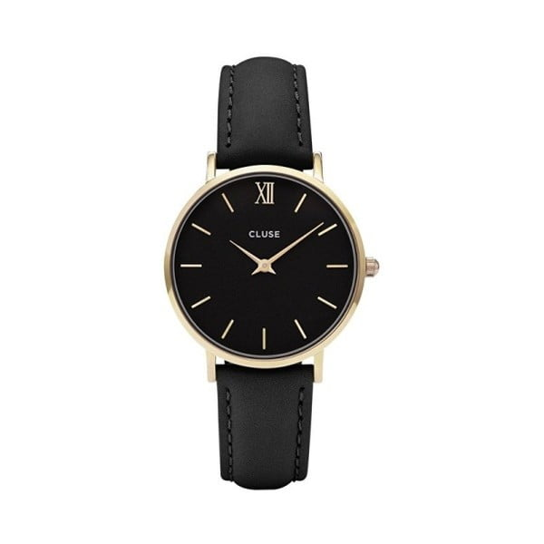 Dámské černé hodinky s koženým řemínkem a detaily ve zlaté barvě Cluse Minuit