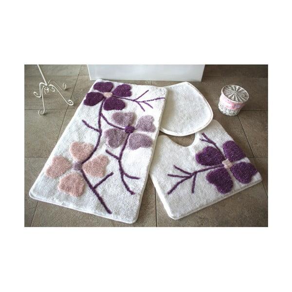 Sada 3 fialovo-bílých předložek do koupelny Alessia Flowers