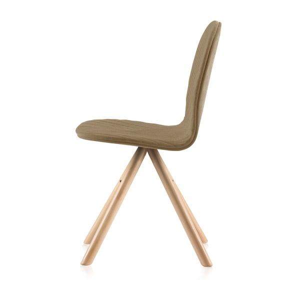 Béžová židle s přírodními nohami IkerMannequinStripe