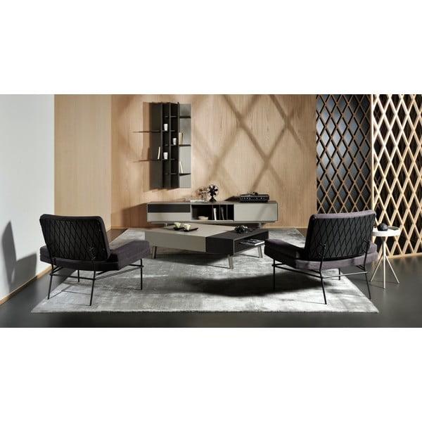 Konferenční stolek Vintme AL2, šedá/dub