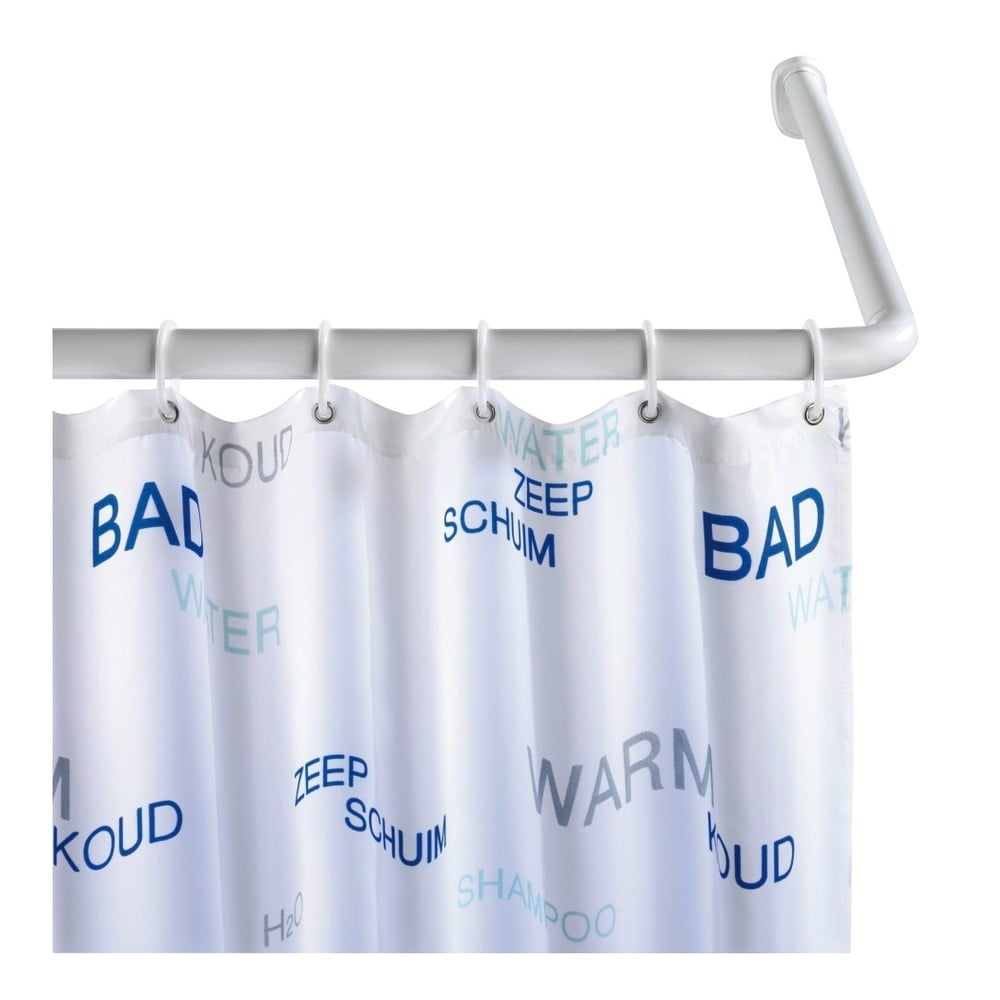 Bílá univerzální rohová tyč na sprchový závěs Wenko White, ø 2 cm Wenko