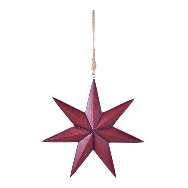 Červená závesná hviezda Ego dekor, výška 21 cm