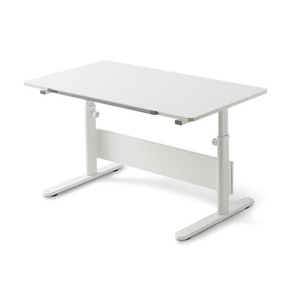 Bílý psací stůl s nastavitelnou výškou Flexa Evo Full