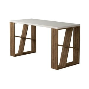 Pracovní stůl s bílou deskou s nohami v dekoru tmavě dubového dřeva Honey