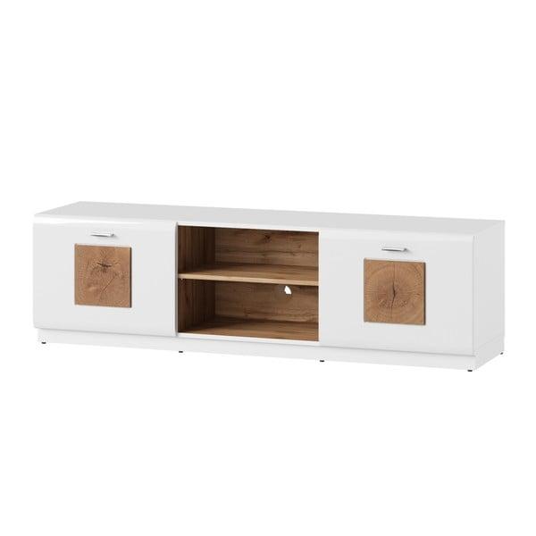 Bílý dvoudveřový TV stolek Szynaka Meble Wood