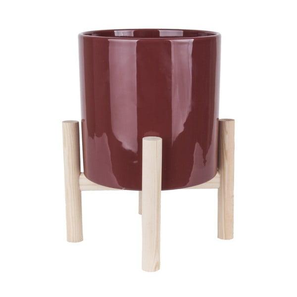 Czerwona doniczka ceramiczna na podstawce z drewna sosnowego PT LIVING Trestle