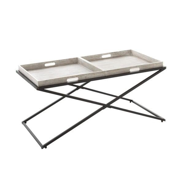 Kovový stolek s dřevěnými podnosy Beige