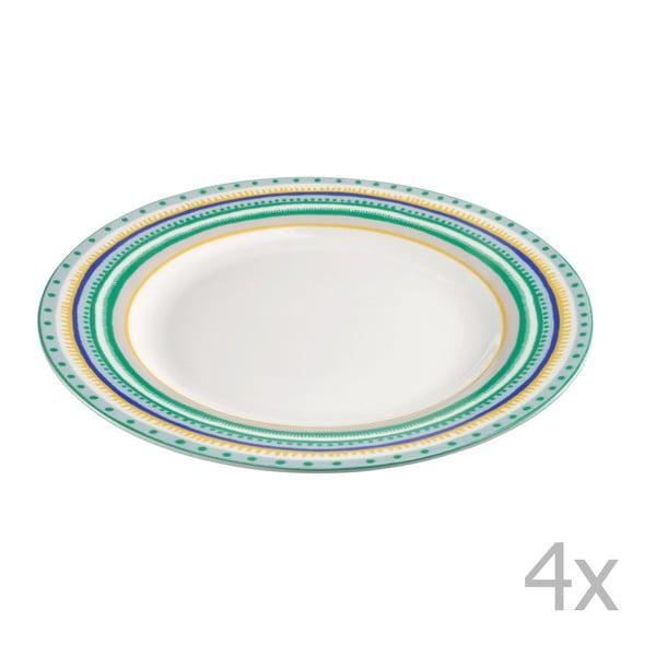Sada 4 porcelánových talířků Oilily 22 cm, zelená