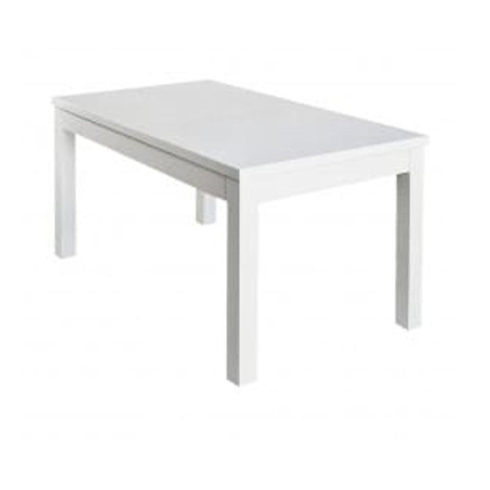 Lesklý bílý rozkládací jídelní stůl Durbas Style Adam, 140 x 83 cm