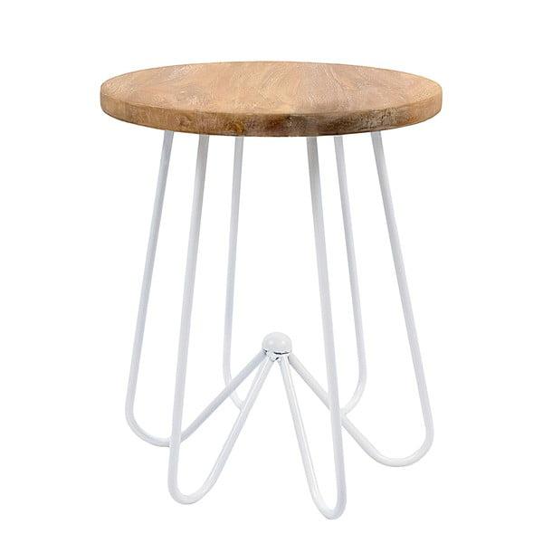 Bílý stolek s deskou z mangového dřeva HF Living Round