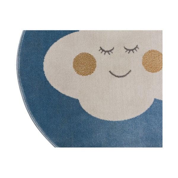 Modrý kulatý koberec s motivem mraku KICOTI Cloud, ø 100 cm