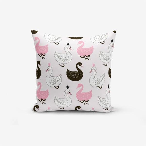 Față de pernă cu amestec din bumbac Minimalist Cushion Covers Pink Background Kind Animals, 45 x 45 cm
