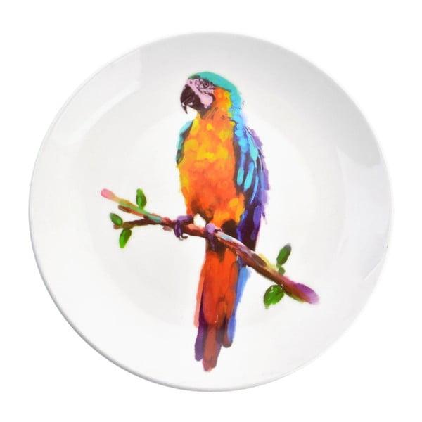 Dekorativní keramický talíř Clayre&Eef Parrot, ⌀20cm