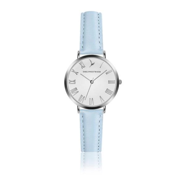 Dámské hodinky se světle modrým páskem z pravé kůže Emily Westwood Pastel