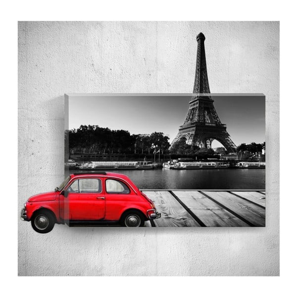 Red Car With Eiffel Tower 3D fali kép, 40 x 60 cm - Mosticx