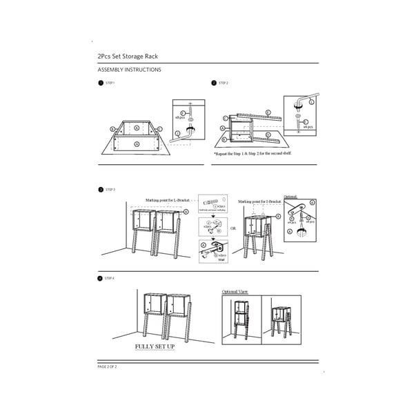 Set 2 rafturi din lemn masiv de cauciuc Furniteam Design