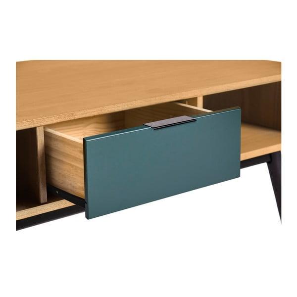 Konferenční stůl se zelenou zásuvkou z borovicového dřeva Marckeric Lucie