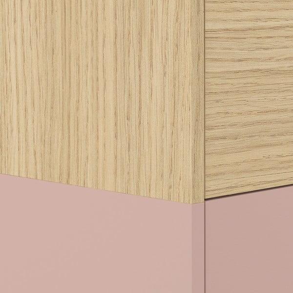 Comodă în decor de lemn de stejar Symbiosis Horizon, roz