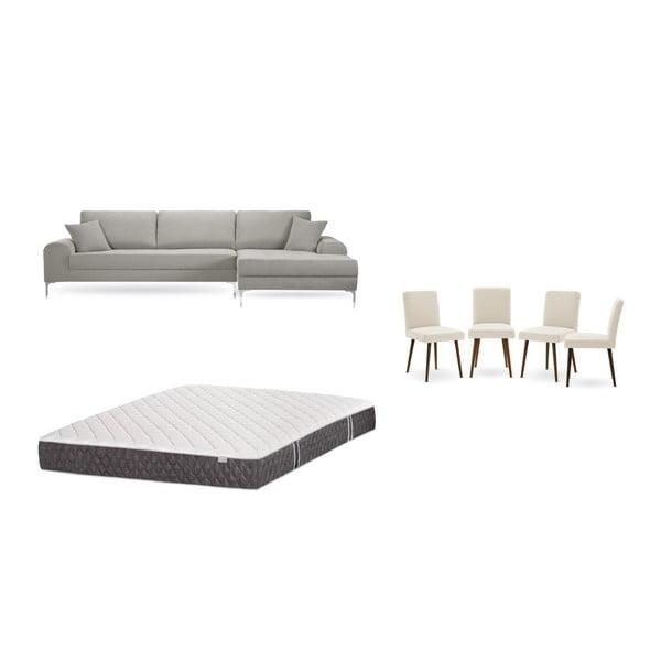 Set canapea gri deschis cu șezlong pe partea dreaptă, 4 scaune crem și saltea 160 x 200 cm Home Essentials