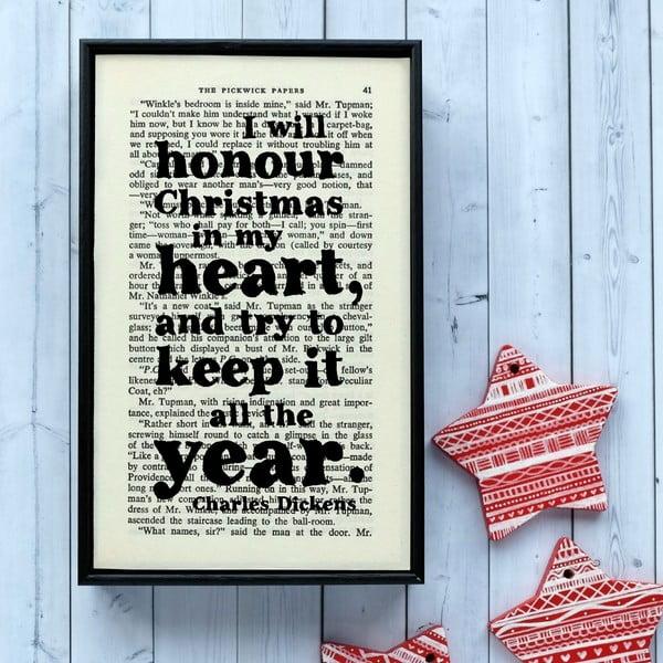 Plakát v dřevěném rámu Dickens Christmas