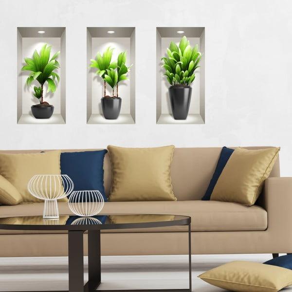 Set 3 autocolante 3D pentru perete Ambiance Exotic Plants
