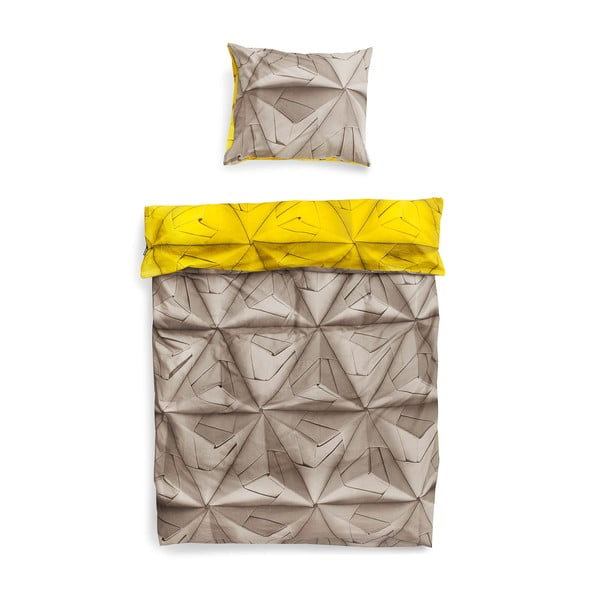 Žluto-hnědé povlečení Snurk Monogami, 140x200cm