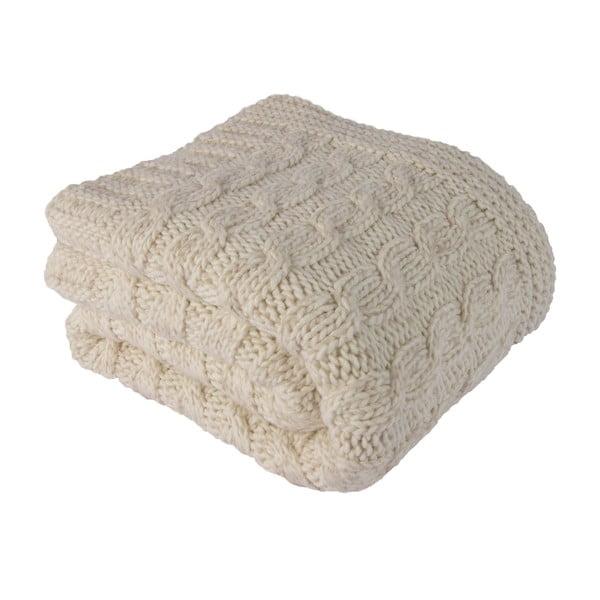 Béžová deka s ovčí vlnou