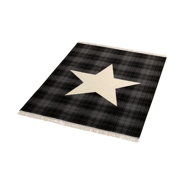 Koberec Fringe - černá hvězda, 140x200cm