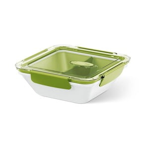 Box na jídlo Rectangular White/Green, 0,9 l