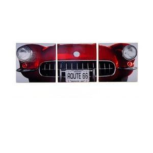 Dřevěný obraz Red Vintage Car, 30x93 cm