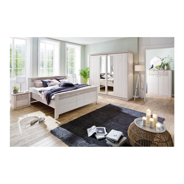 Pat din lemn de pin SOB Göteborg, 180 x 200 cm, alb