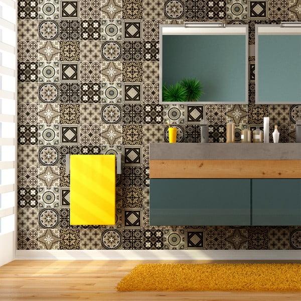 Sada 9 nástěnných samolepek Ambiance Wall Decal Tiles Azulejos Pompei, 20 x 20 cm