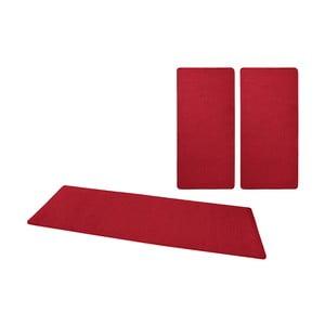 Sada 3 červených koberců kolem postele Hanse Home Fancy