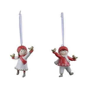 Sada 2 závěsných vánočních dekorací s červenými detaily Ego Dekor Playful