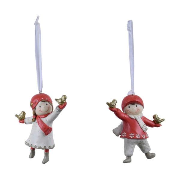 Zestaw 2 wiszących ozdób świątecznych z czerwonymi detalami Ego Dekor Playful