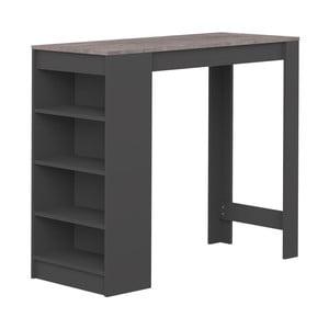 Černý barový stolek s deskou v dekoru betonu Symbiosis Aravis