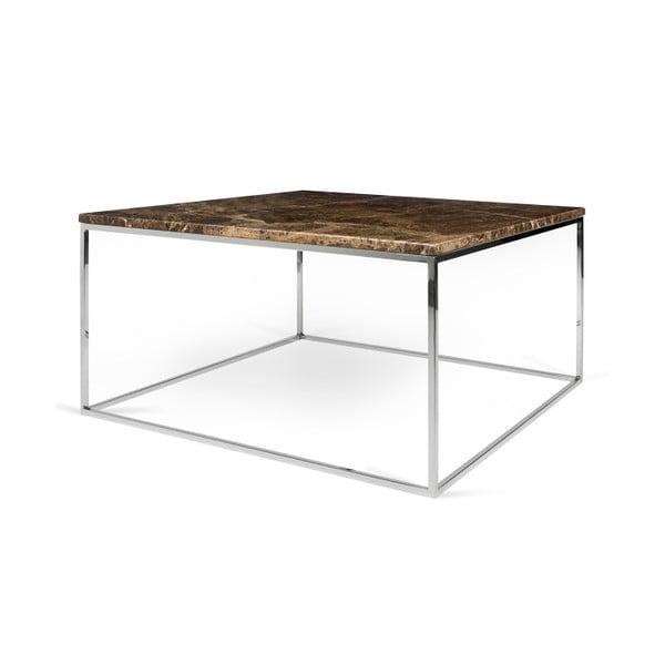 Hnědý mramorový konferenční stolek s chromovými nohami TemaHome Gleam, 75 cm