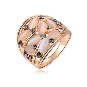 Prsten s krystaly Swarovski a růžovým zlatem Bouquet, velikost 52
