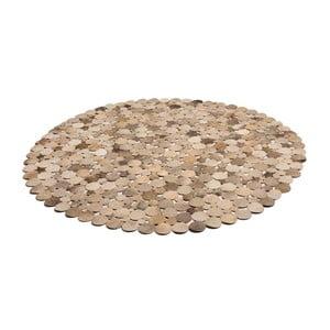 Hnědý kožený koberec Cotex Palazzo, ø 110 cm
