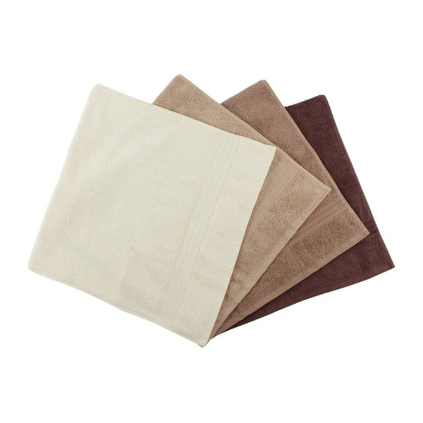 Set 4 prosoape din bumbac Rainbow Brown, 50 x 90 cm, maro