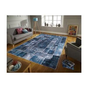 Covor cu rezistență la pete Floorita Montage Blue, 120 x 180 cm