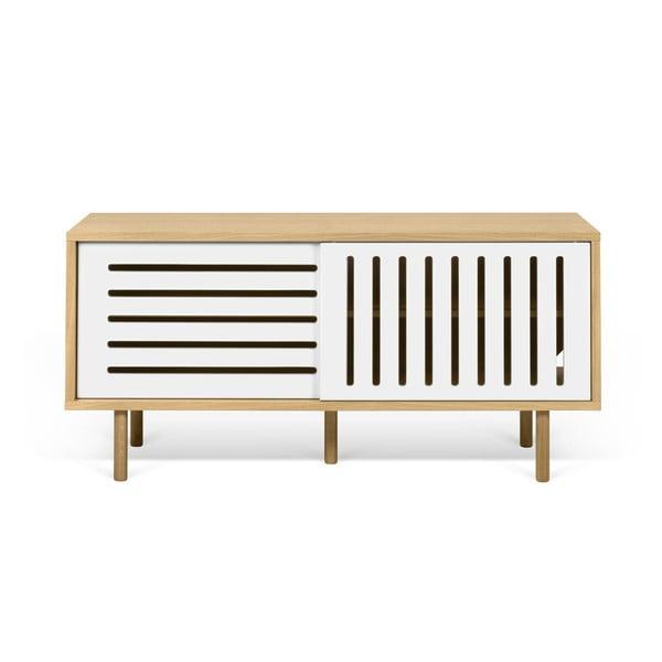 TV komoda v dekoru dubového dřeva s bílými detaily TemaHome Dann Stripes, délka 135cm